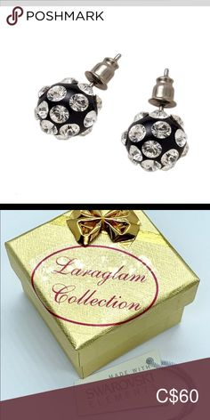 Swarovski stud earrings black Feel glamorous with these gorgeous 360 degree ball stud earrings. Comfortable, lightweight and easy to wear all day long.  They are lead and nickle free, and are safe for sensitive ear types to wear. Hand crafted to perfection while embellished with Swarovski® crystal elements. Luxury gift box and certificate of authenticity included. Makes a great gift idea as well laraglamjewelry Jewelry Earrings
