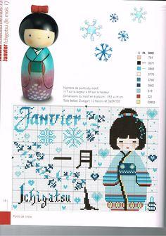 0 point de croix fille geisha bleu janvier  - cross stitch blue little geisha january