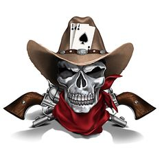 Blake Jensen Dead Man's Hand Cowboy Skull Sculpture by The Hamilton Collection Badass Tattoos, Tattoos For Guys, Koch Tattoo, Cowboy Tattoos, Pirate Skull Tattoos, Logo Free, Chapeau Cowboy, Pirate Art, Skull Pictures