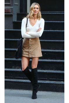 Suede skirt, white sweater top, and tall black boots. | Fall Style