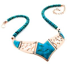 Jay King Blue Turquoise Inlay Reversible Copper Bib Necklace at HSN.com.