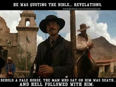 Another good quote Tombstone Movie Quotes, Tombstone Sayings, Tombstone 1993, Doc Holliday Tombstone, Behold A Pale Horse, Johnny Ringo, Im Your Huckleberry, Cowboy Quotes, Favorite Movie Quotes