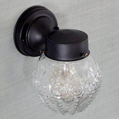 Mid-Century Post War Era Porch Light Vintage Glass Shade, New Fixture