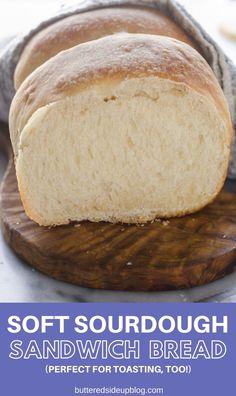 Sourdough Sandwich Bread Recipe - Buttered Side Up Sourdough Sandwich Bread Recipe, Sourdough Starter Discard Recipe, Sandwich Loaf, Sandwich Bread Recipes, Sourdough Recipes, Bread Bun, Fermented Foods, Artisan Bread, Bread Baking