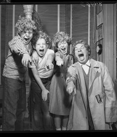 """Harpo Marx, with his bewigged children Alec, Jimmy, & Minnie (1954)  ""In the house in Beverly Hills where our  four children grew  up, living conditions were a few thousand times  improved over the old  tenement on New York's East 93rd Street we Marx  Brothers called home.  But my mother and father would have approved of  the way my wife, Susan,  and I ran the place in California.  Like the  East Side tenement, our  house was seldom without the sound of music or  laughter or quest"""