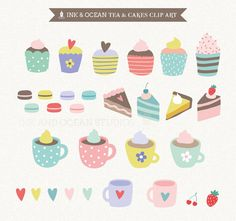 Digital clip art, cute vintage tea and cake, macaroons,  invitations, card making, scrapbooking , Instant Download