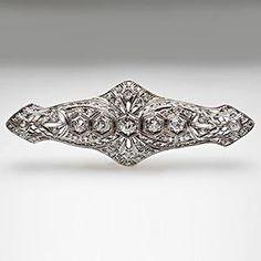 Antique Art Deco Old European Cut Diamond Bar Pin, solid platinum with filigree.