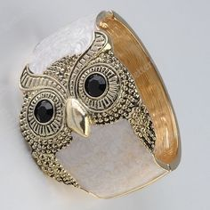 1PC White Enamel Owl Golden Hinged Bracelet Bangle Fashion Korean Vogue Style