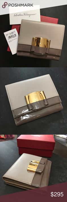 NIB Ferragamo Bi-Color Leather Wallet Brand new with tags and original box! Authentic Ferragamo french wallet in bi-color grayish taupe smooth and patent calfskin leather. Gold hardware with logo embossed on front. Coin compartment has snap closure and has another card slot on the flap. Inside has 2 bill folds and 7 card slots with one see-through for ID. Ferragamo Bags Wallets