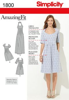 Simplicity 1800 Misses' & Plus Size dresses in two lengths with individual patterns for slim, average and curvy fit and B, C, D cup sizes for miss and C, D, DD cup sizes for plus sizes.