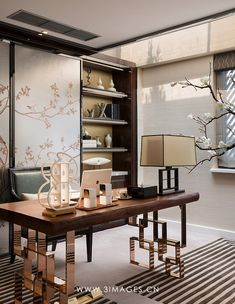 Chinoiserie painted sliding doors