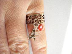 Silver charm ring Filigree charm ring Midi rings Eifel by Poppyg Stylish Jewelry, Unique Jewelry, Charm Rings, Midi Rings, Xmas Gifts, Filigree, Gifts For Her, Minimalist, Charmed