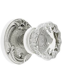 Lafayette Rosette Door Set With Fluted Crystal Glass Knobs | House of Antique Hardware