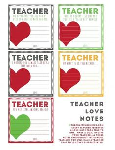 Teacher love notes - cute for Valentine's Day, Teacher Appreciation or end of the school year! by deana