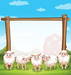 Wooden frame with sheeps in the farm illustration Illustration , Cartoon Lamb, Sheep Cartoon, Sheep Silhouette, Animal Silhouette, Funny Sheep, Cute Sheep, Creative Poster Design, Creative Posters, Sailor Illustration