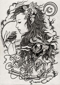 gypsy bird and skulls outline for tattoo