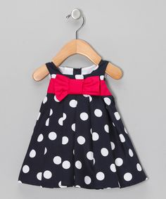 Take a look at this Navy & Hot Pink Polka Dot Dress - Infant & Toddler on zulily today!