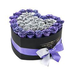 LOVE box - black - shimmer-purple&silver ETERNITY roses shimmer purple - the million roses Flower Box Gift, Flower Boxes, Flowers, Billion Roses, Personalized Gift Cards, Box Roses, Preserved Roses, Rose Arrangements, Ribbon Bows
