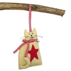 Felt cat ornament with red star, hanging cat decoration, ready to ship Felt Christmas Ornaments, Hanging Ornaments, Christmas Cats, Xmas, Felt Embroidery, Felt Birds, Felt Cat, Cat Decor, Cat Crafts