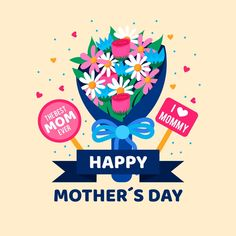 Vintage Bouquet, Happy Mothers Day, Mom Day, Artwork, Vector Free, Kids, Background Colour, Bouquet Of Flowers, Art Styles