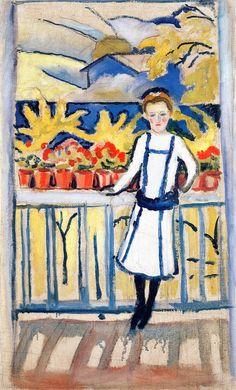 August Macke (German, 1887-1914) | Girl on a Balcony I: Tegernsee, 1910