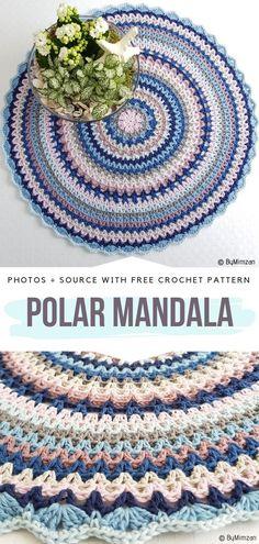 Colorful Rows Crochet Mandalas Free Patterns Polar Mandala Free Crochet Pattern Learn the fact (gene Knitting Designs, Knitting Patterns Free, Knitting Projects, Crochet Projects, Free Pattern, Crochet Mandala Pattern, Crochet Doilies, Crochet Stitches, Crochet Patterns