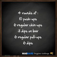 Today workout #1 Madbarz beginner challenge :  10 push-ups, 6 chin-ups, 3 dips on bar, 6 pull-ups, 6 dips. 4 min of rest between sets NO rest between exercises. entraînement Litobox du matin (morning workout) - calisthenics WOD