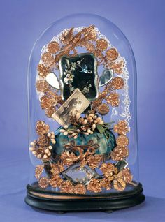 View Catalog Item - Theriault's Antique Doll Auctions ~ French Globe de Mariee with Vintage Wedding Photo & Mementos ~ circa 1900