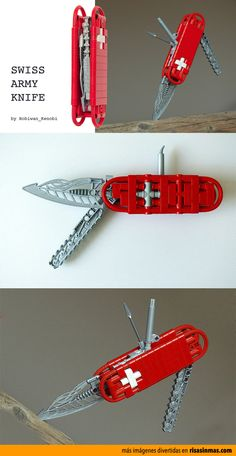 Navaja suiza hecha con LEGO. Victorinox Knives, Victorinox Swiss Army Knife, Edc Wallet, Lego Guns, Lego Military, Lego Worlds, Mens Gear, Lego Projects, Lego Moc