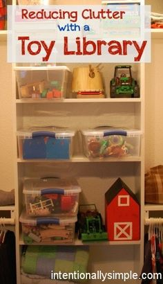 Managing toy clutter with a Toy Library. Good advice especially for those of us with small children in a range of ages!