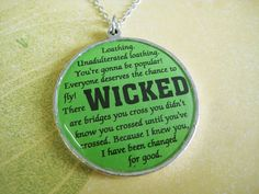 Wicked Quotes Necklace (Wicked the musical inspired). $15.00, via Etsy.