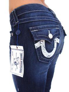 ad37024da TRUE RELIGION Womens BOOTCUT Bandana Logo Jeans w  FLAPS Twisted Torn - on  sale now