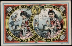 Vintage J&P Coates Thread Trade Card, ca. late 1800s