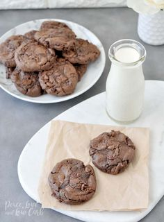 Keto Flourless Chewy Double Chocolate Chip Cookies | Peace Love and Low Carb