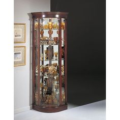 Tall Modern Brown Glass Wood Curion Display Corner Cabinet ...