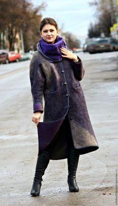 """Купить Авторское пальто """"Туман"""". - комбинированный, абстрактный, оливковый, полынь, зеленый, фиолетовый, серый, пальто"""