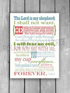 Printable Psalm 23 The 23rd Psalm The Lord Is My Shepherd Bible Verse Encouraging Scripture Word Art