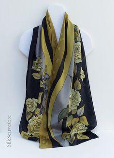 Hand painted silk scarf Black yellow gray silk от SilkScarvesEtc
