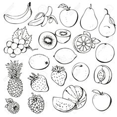 clip art black and white fruit of the spirit Google Search Fruits drawing Doodle art flowers Fruit picture