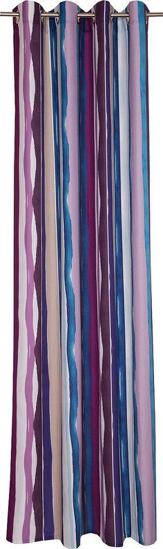 Details:  Die angegebenen Maße sind Stoffmaße. Am Fenster fertig dekoriert reduziert sich die Breite um ca. die Hälfte., mit geradem Abschluss,  Details Aufhängung Ösen:  Aufhängung erfolgt mittels Ösen an der Gardinenstange.,  Design:  Strukturierte Oberfläche, Einseitig bedruckt, Mit farbigen Längsstreifen,  Material:  100% Polyester,  Pflegehinweis:  waschbar bei 30° C, Schonwaschgang, auf g...