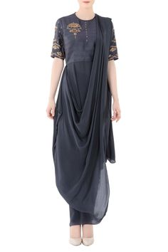 Shop Nidhika Shekhar - Charcoal grey one shoulder drape gown Latest Collection Available at Aza Fashions Indian Gowns, Indian Attire, Indian Wear, Indian Outfits, Unique Dresses, Stylish Dresses, Fashion Dresses, Maxi Dresses, Drape Gowns