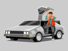 This HD wallpaper is about gray coupe illustration, DeLorean, Back to the Future, transportation, Original wallpaper dimensions is file size is The Future Movie, Back To The Future, 8bit Art, Grid Design, Flat Design, Graphic Design, Fun Illustration, Affinity Designer, Artist Portfolio