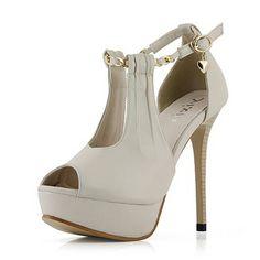 PU Buckled Peep Toe Stiletto Sandals | Sprence