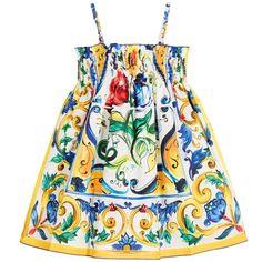 Dolce & Gabbana Majolica Print Cotton Sun Dress at Childrensalon.com