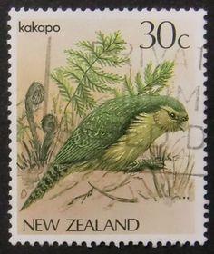 Items similar to Kakapo Bird New Zealand -Handmade Framed Postage Stamp Art 11275 on Etsy All Birds, Little Birds, Kakapo Parrot, Bird Barn, Barn Owls, Nz Art, Postage Stamp Art, Kiwiana, Bird Theme