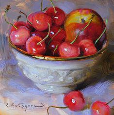 "Daily Paintworks - ""Nectarine and Cherries"" - Original Fine Art for Sale - © Elena Katsyura Fruit Painting, Fine Art Auctions, Still Life Art, Mini Paintings, Fruit Art, Kitchen Art, Fine Art Gallery, Beautiful Paintings, Art Oil"