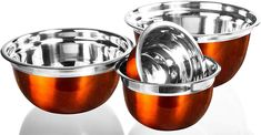 Buy 4 Pc Chef Quality Stainless Steel Mixing Bowls - Orange Serving Prep Bowls or Mixing Bowl Set w/Flat Rim & Base Earthenware, Stoneware, Orange Kitchen, Home Chef, Mixing Bowls, Kitchen Collection, Pyrex, Bowl Set, Stainless Steel
