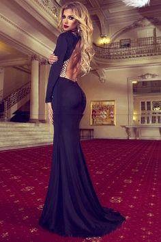 Gorgeous Black Backless Long Sleeve Mermaid Dress