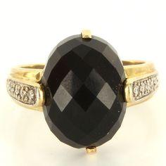 Vintage 14 Karat Yellow Gold Diamond Onyx Cocktail Ring Fine Estate from preciousandrarepieces on Ruby Lane