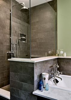 example of a soaking tub w 1/2 wall shower